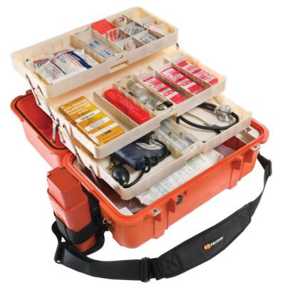 VALISE PELICASE 1460EMS MEDICALE ORANGE + COMPARTIMENTS ETAGES